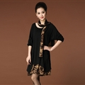 Fashion Dresses Winter Ladies Leopard Print Chiffon Plus Size Knitted Scarf - Black
