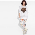 Fashion Dresses Winter Ladies Leopard Print Three-Quarter Sleeve Knitted House - White