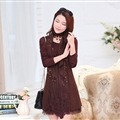 Fashion Dresses Women Winter Leopard Print Lace Long Sleeved - Coffee