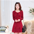 Fashion Dresses Women Winter Leopard Print Lace Long Sleeved - Red