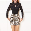 Funky Dresses Women Winter Leopard Print Lace Sexy Glamorous Long Sleeved - White