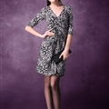 Mature Dresses Spring Women Knee Length Fifth Sleeve Leopard Print - Grey