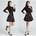 New Dresses Fall Ladies Leopard Print Leather Classy Lace Semi Plus Size - Purple