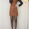 Sexy Dresses Fall Female Printed Long Sleeve Leopard Print Short Plus Size - Brown