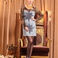 Sexy Dresses Fall Short Ladies Leopard Print Printed Ruffle Denim - Blue