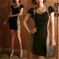 Sexy Dresses Summer Female Printed Leopard Print Short Bodycon - Black