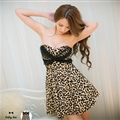 Sexy Dresses Summer Ladies Leopard Print Bowknot Strapless Lace - Brown
