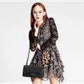 Sexy Dresses Summer Ladies Leopard Print Long Sleeved Ruffle Chiffon - Black