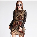 Sexy Dresses Summer Ladies Leopard Print Long Sleeved Ruffle Chiffon - Coffee