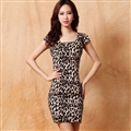 Sexy Dresses Summer Short Ladies Leopard Print Printed - Brown