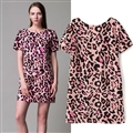 Sexy Dresses Summer Short Ladies Leopard Print Printed Open Back - Pink