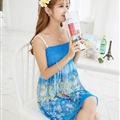 Sweet Dresses Summer Girls Affordable Flower Bohemian Coast Chiffon - Blue