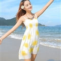 Sweet Dresses Summer Girls Affordable Flower Bohemian Coast Chiffon - Yellow