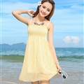 Sweet Dresses Summer Girls Affordable Printed Bohemian Coast Chiffon - Yellow