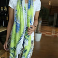 Beaded Printed Scarf Scarves For Women Winter Warm Cotton Panties 180*100CM - Green