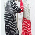 Cheap Zebra Print Scarves Wrap Women Winter Warm Cashmere 200*45CM - Black Red