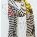 Cheap Zebra Print Scarves Wrap Women Winter Warm Cashmere 200*45CM - White Yellow