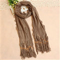 Cheapest Fringed Scarves Wraps Women Winter Warm Wool Solid 185*55CM - Brown