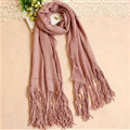 Cheapest Fringed Scarves Wraps Women Winter Warm Wool Solid 185*55CM - Pink