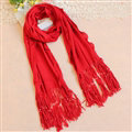 Cheapest Fringed Scarves Wraps Women Winter Warm Wool Solid 185*55CM - Red