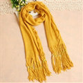 Cheapest Fringed Scarves Wraps Women Winter Warm Wool Solid 185*55CM - Yellow