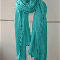Classic Beaded Scarf Scarves For Women Winter Warm Cotton Panties 215*85CM - Blackish Green