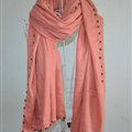 Classic Beaded Scarf Scarves For Women Winter Warm Cotton Panties 215*85CM - Pink