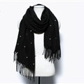 Classic Fringed Beaded Scarf Scarves For Women Winter Warm Cotton Panties 183*66CM - Black