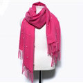 Classic Fringed Beaded Scarf Scarves For Women Winter Warm Cotton Panties 183*66CM - Rose