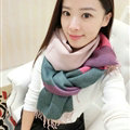 Colorful Fringe Scarves Wrap Women Winter Warm Cashmere Panties 190*70CM - Pink Green
