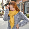 Cool Beaded Women Scarf Shawls Winter Warm Polyester Solid Scarves 180*70CM - Yellow