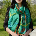 Cool Crystal Skull Women Scarf Shawls Winter Warm Polyester Scarves 196*72CM - Green