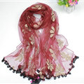 Cool Floral Lace Women Scarf Shawls Winter Warm Polyester Scarves 195*69CM - Red