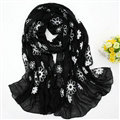 Discount Embroidered Floral Scarves Wrap Women Winter Warm Cotton 200*80CM - Black