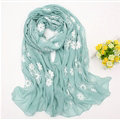 Discount Embroidered Floral Scarves Wrap Women Winter Warm Cotton 200*80CM - Blue
