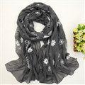 Discount Embroidered Floral Scarves Wrap Women Winter Warm Cotton 200*80CM - Dark Grey