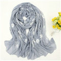 Discount Embroidered Floral Scarves Wrap Women Winter Warm Cotton 200*80CM - Grey