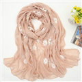 Discount Embroidered Floral Scarves Wrap Women Winter Warm Cotton 200*80CM - Kahki