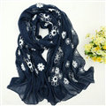 Discount Embroidered Floral Scarves Wrap Women Winter Warm Cotton 200*80CM - Navy