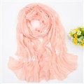 Discount Embroidered Floral Scarves Wrap Women Winter Warm Cotton 200*80CM - Pink