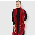 Discount Floral Lace Scarves Wrap Women Winter Warm Polyester 210*35CM - Red