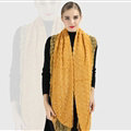 Discount Floral Lace Scarves Wrap Women Winter Warm Polyester 210*35CM - Yellow