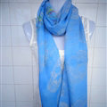 Discount Skull Scarf Scarves For Women Winter Warm Cotton Panties 170*70CM - Blue