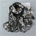 Embroidered Floral Scarves Wrap Women Winter Warm Polyester 195*65CM - Black