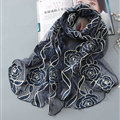 Embroidered Floral Scarves Wrap Women Winter Warm Polyester 195*65CM - Blue
