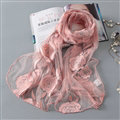 Embroidered Floral Scarves Wrap Women Winter Warm Polyester 195*65CM - Pink