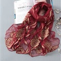 Embroidered Floral Scarves Wrap Women Winter Warm Polyester 195*65CM - Red