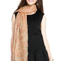 Embroidered Lace Scarves Wrap Women Winter Warm Polyester 195*68CM - Beige