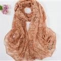 Embroidered Lace Scarves Wrap Women Winter Warm Polyester 195*68CM - Brown