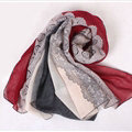 Floral Printed Lace Women Scarf Fiber Cloth Warm Scarves Wraps 180*95CM - Wine Red
